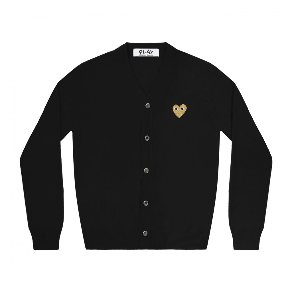 GOLD HEART CARDIGAN - BLACK / GOLD