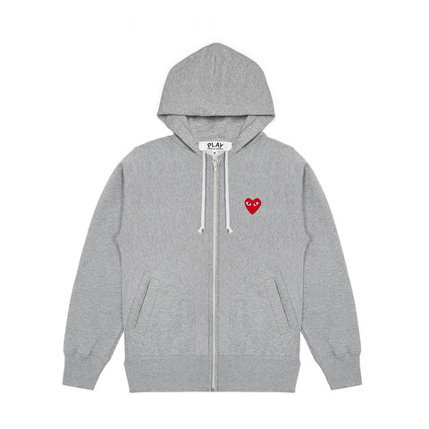FULL ZIP BACK PRINT LOGO HOODIE - GREY