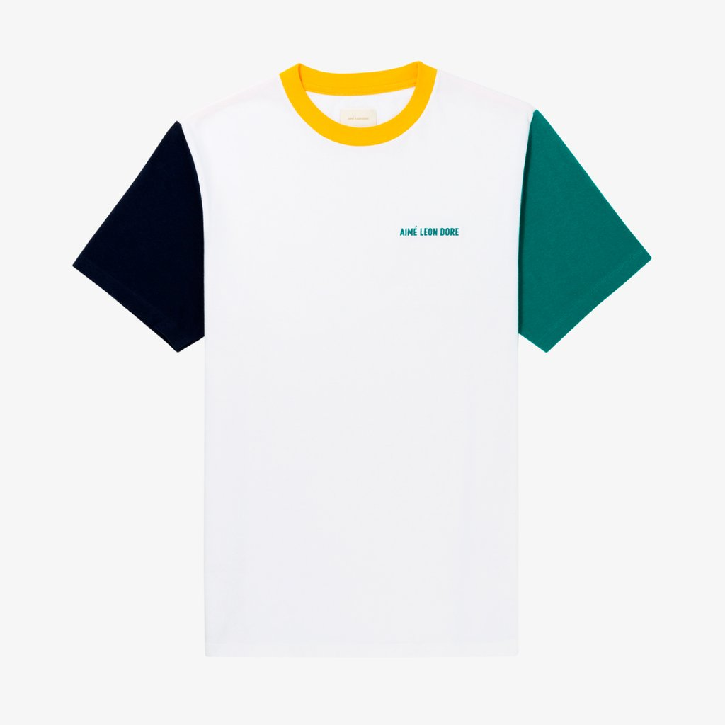 S/S COLOR-BLOCKED TEE - WHITE / TEAL