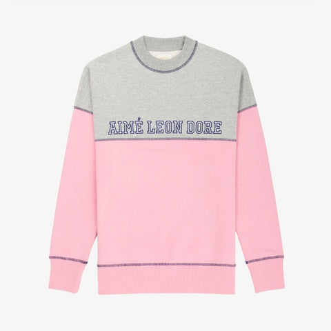 CROSS STITCH CREWNECK - GREY / PINK