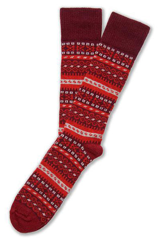 FAIR ISLE SOCK IN MERINO & CASHMERE - BLACK CHERRY