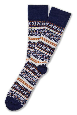 FAIR ISLE SOCK IN MERINO & CASHMERE - DARK NAVY