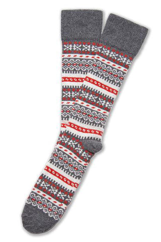 FAIR ISLE SOCK IN MERINO & CASHMERE - OXFORD