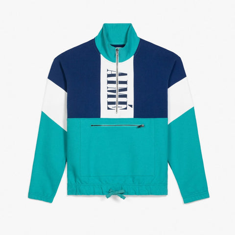 COLOR BLOCKED QUARTER ZIP PULLOVER - NAVY / TEAL