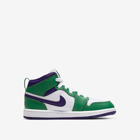 AIR JORDAN 1 MID (PS) - ALOE VERDE / WHITE / COURT PURPLE