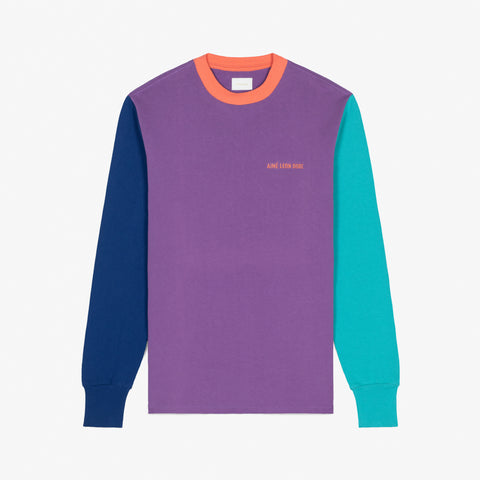 COLOR BLOCKED LOGO L/S TEE - PURPLE