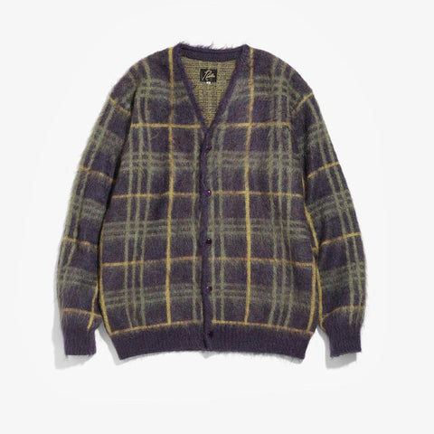 MOHAIR CARDIGAN PLAID - PURPLE