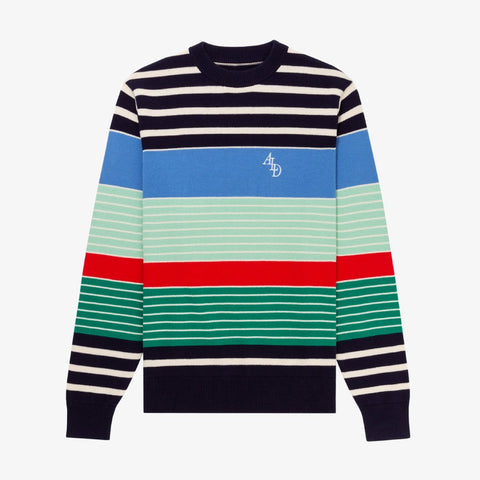 VARIEGATED STRIPE MONOGRAM SWEATER - BLUE