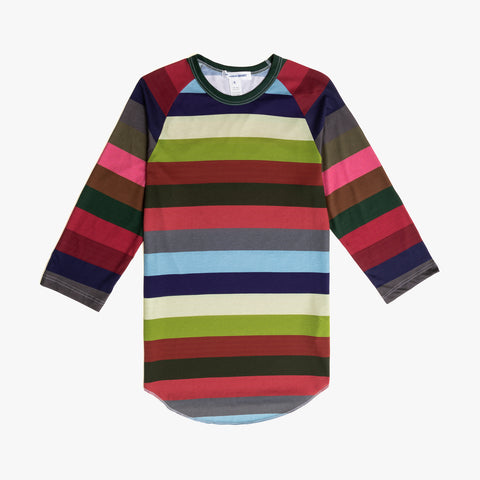 3/4 SLEEVE STRIPED TEE - MULTI