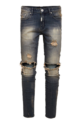 KNEE DESTROYER ESSENTIAL JEANS - SAND BLAST