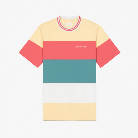 STRIPED RIBBED COLLAR TEE - CREAM