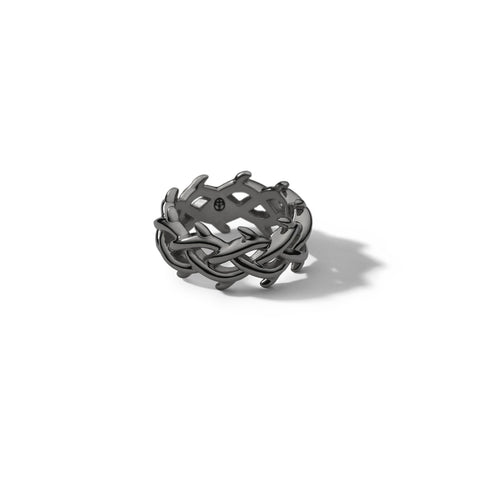 LAPSTONE x THORN 11MM CROWN RING - BLACK RHODIUM
