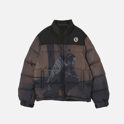 PRINTED PUFFER JACKET - BLACK / BROWN