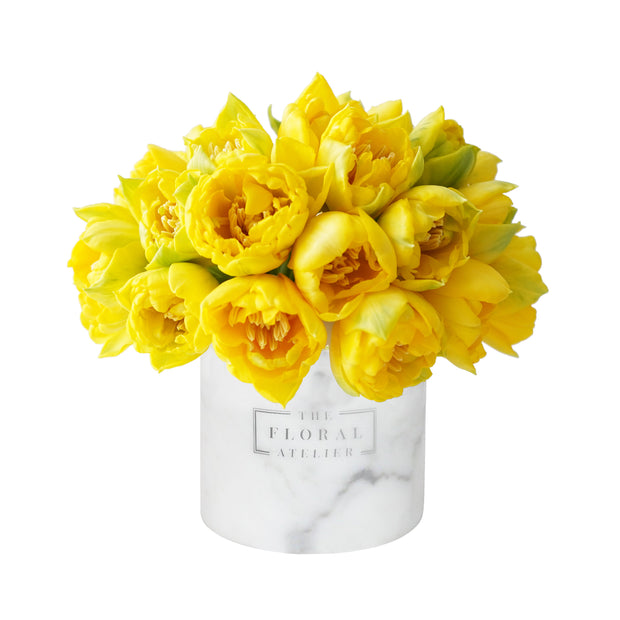 Yellow Double Tulip Luxe Marble Vase