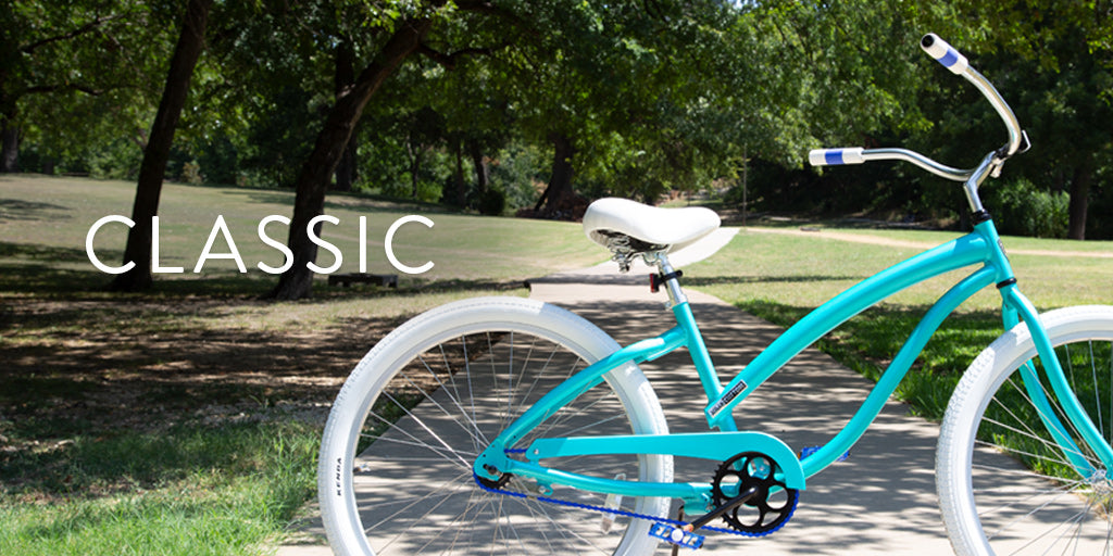 Classic Cruisers | Core Collection | Villy Custom | Our Classics are our staple selection of gorgeous & time-honored color combinations. These beautiful single-speed cruisers have fun frame colors with black and white cruiser components.