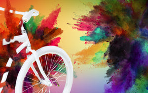 White bike going into a Color Explosion