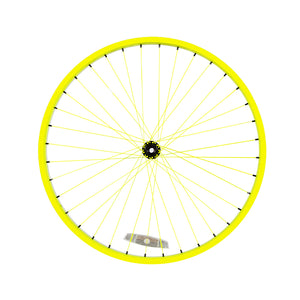 Powder Coated Neon Yellow Cruiser Wheel - Black Hub & Nipples