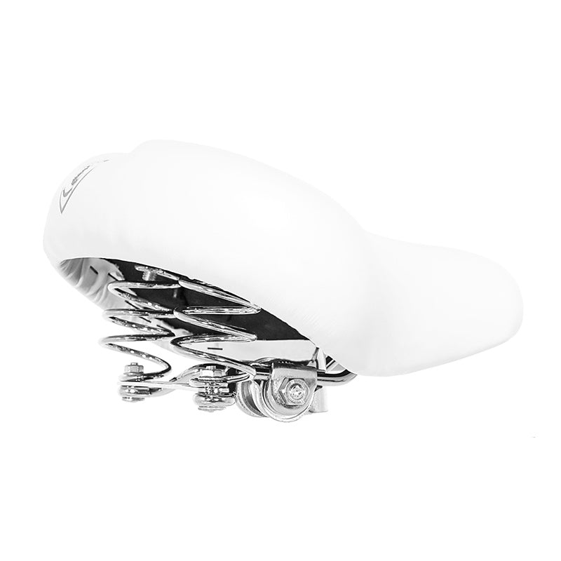 White Banana Cruiser Seat with Silver Hardware - Villy Custom
