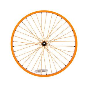 Powder Coated Orange Cruiser Wheel - Black Hub & Black Nipples