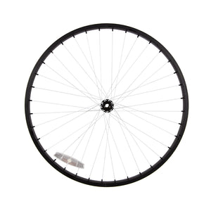 Powder Coated Black Rim & Hub, White Spokes & Nipples Wheel