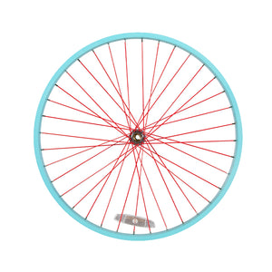Powder Coated Bright Blue Rim, Red Spoke, Chrome Hub & Nipple Cruiser Wheel