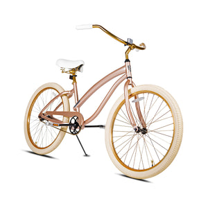 Veronica, Curated Cruiser - Beautiful Rose Gold Frame, accented with gold handlebar, stem, seat, seatpost, wheels, and chain. White grips and seat.