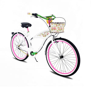Esme | White 3-Speed Curated Cruiser with carrying rack, basket, and pineapple cup holder.