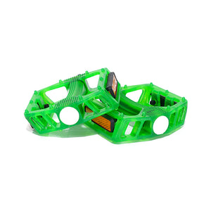 Green Classic Bow PC Pedals - Boron Spindle & Ball Bearing with Reflector