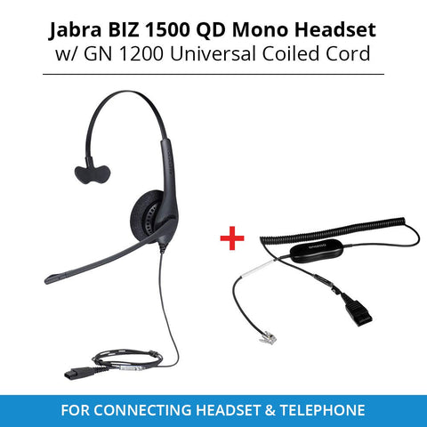 Jabra Biz 1500 Mono Headset with GN1200 Smart Cord