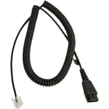 JABRA QUICK DISCONNECT TO MODULAR (RJ) COILED BOTTOM CORD 8800-01-89 - Headset World USA - Your Headset Solutions