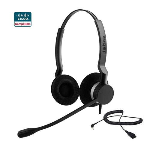 Cisco certified Jabra Biz 2300 DUO Direct Connect Bundle for Cisco SPA Phones - QD to 2.5MM - Headset World USA - Your Headset Solutions