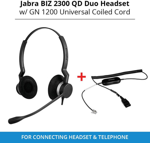 Jabra Biz 2300 Duo Headset Bundle with GN1200 Smart Cord