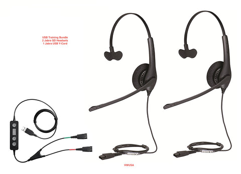 Jabra Soft Phone/PC USB Training Headsets Biz 1500 Mono (2)  w/USB Y-Cord - 1 - Headset World USA - Your Headset Solutions