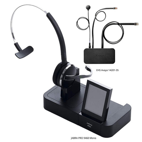 Jabra PRO 9460 Mono Flex Boom Wireless Headset with EHS Avaya 14201-35 Cable, Bundle for Avaya Phones (1600 & 9600 Series) - Headset World USA - Your Headset Solutions
