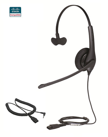 Cisco Certified Jabra Biz 1500 Monaural QD Headset w/2.5MM Cord for SPA models - Headset World USA - Your Headset Solutions