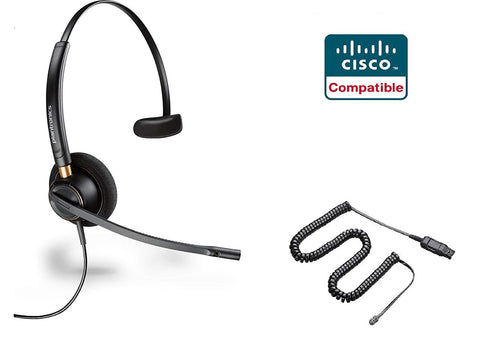Cisco Certified Plantronics HW510 EncorePro 510 Noise Canceling Headset  Bundle for Cisco 69xx, 78xx, 79xx, 89xx, 99xx Series