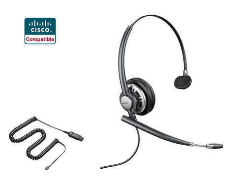 Cisco Certified Plantronics EncorePro HW710 Headset Bundle for Cisco 69xx, 78xx, 79xx, 89xx, 99xx Series - Headset World USA - Your Headset Solutions