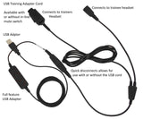 USB Training Y-Cord Adapter for Plantronics QD Headsets - connects to computer