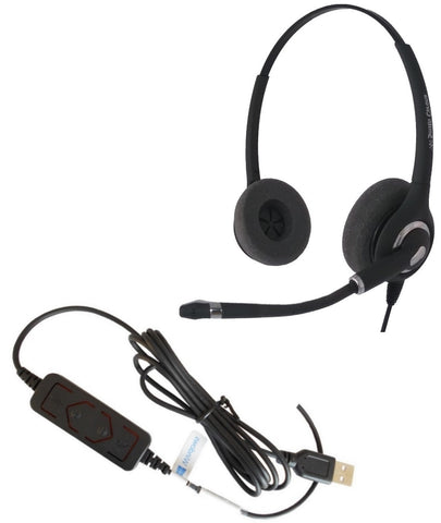 Smith Corona Ultra Pro Binaural USB Headset - straight corded, NO QD P14767