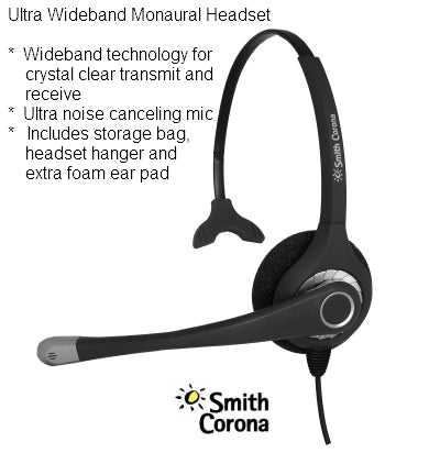 Smith Corona Ultra MONO USB Headset for Computer use via USB - NO QD