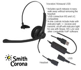 USB Training Headsets Bundle - 2 Voicelync Monaural USB Headsets w/detachable USB Cords-Y-cord training adapter included