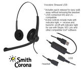 USB Training Headsets Bundle - 2 Voicelync Binaural USB Headsets w/detachable USB Cords-Y-cord training adapter included