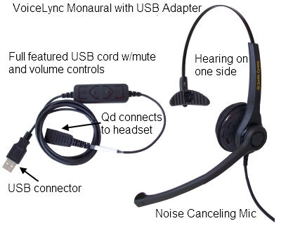 Smith Corona Voicelync Monaural Headset W Detachable Usb Adapter Gn Jabra Qd Compatible P14470 Headset World Usa Your Headset Solutions