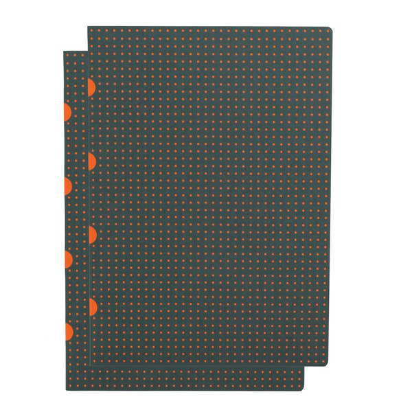 Set of 2 Grey on Orange Grid Notebooks - Juniper & Scout