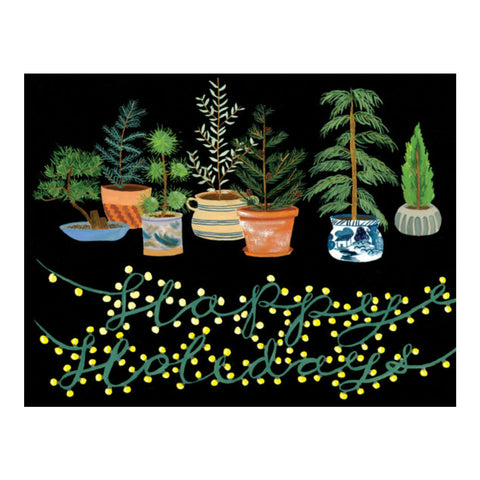Potted Evergreens Holiday Card