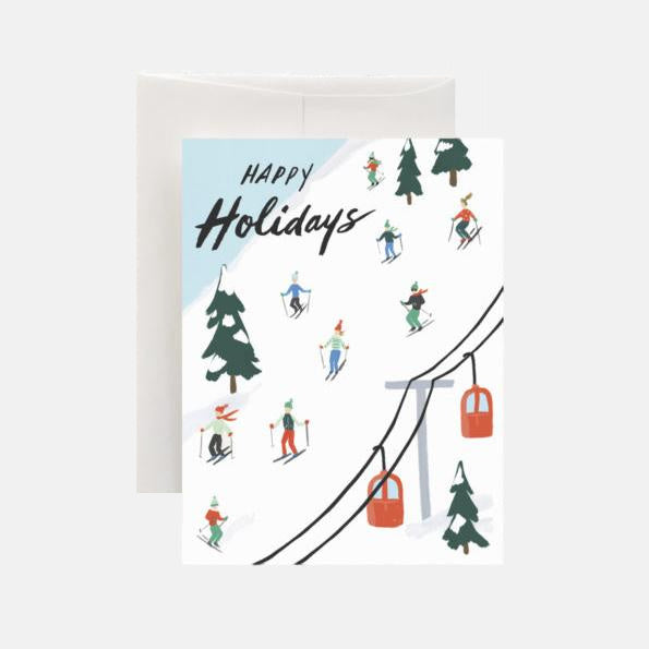 Holiday Skiers Greeting Card - Juniper & Scout