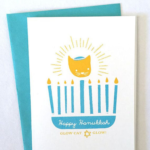 Kitty's Hanukkah Glow Card