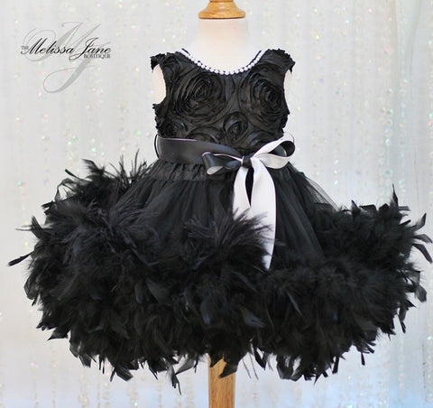 Girls Black Feather Dress