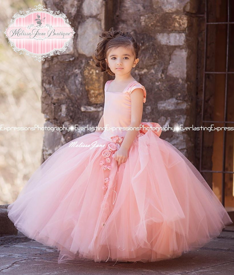 Divine Peach Exquisite Tulle Skirt Flower Girl Dress | First ...