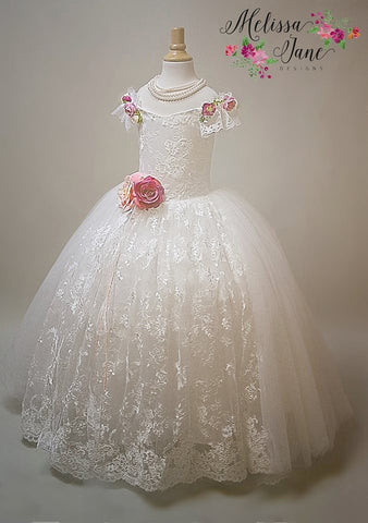 """Catiline""  -Exquisite Bridal Flower Girl Dress - MelissaJane Designs"